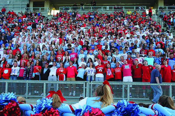 The student section kept the intensity high during this years homecoming game against the Mitchell Kernels.