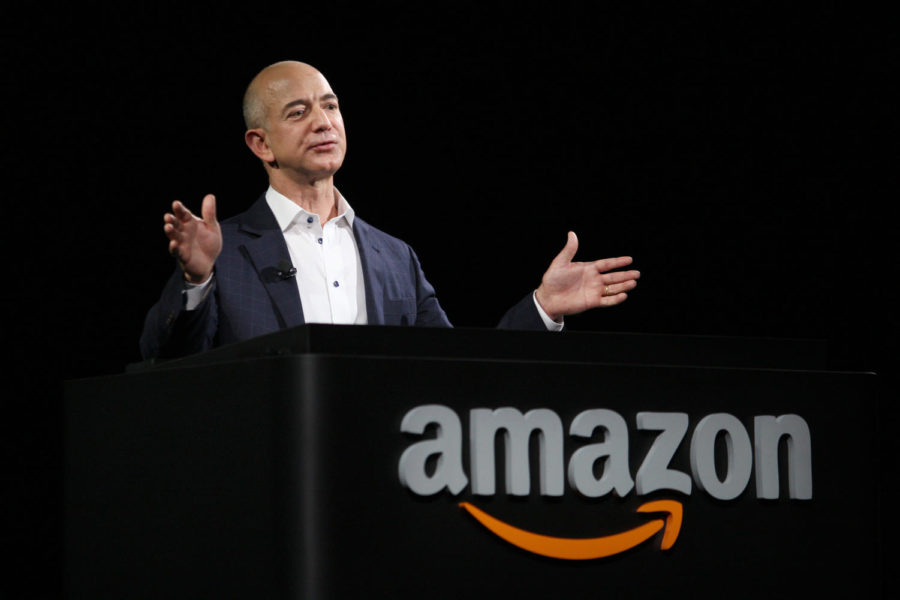 Jeff+Bezos+speaks+at+a+press+conference+earlier+in+his+career.+