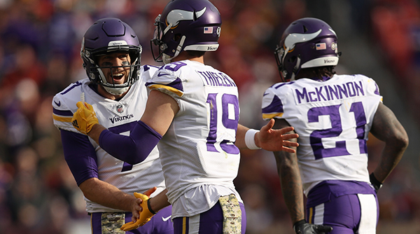 Keenum, number 7, looks to lead the Vikings to the Super Bowl.