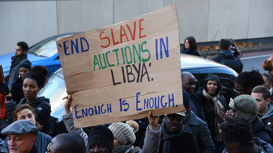 Many+have+taken+to+protesting+the+slave+trade+in+Libya.
