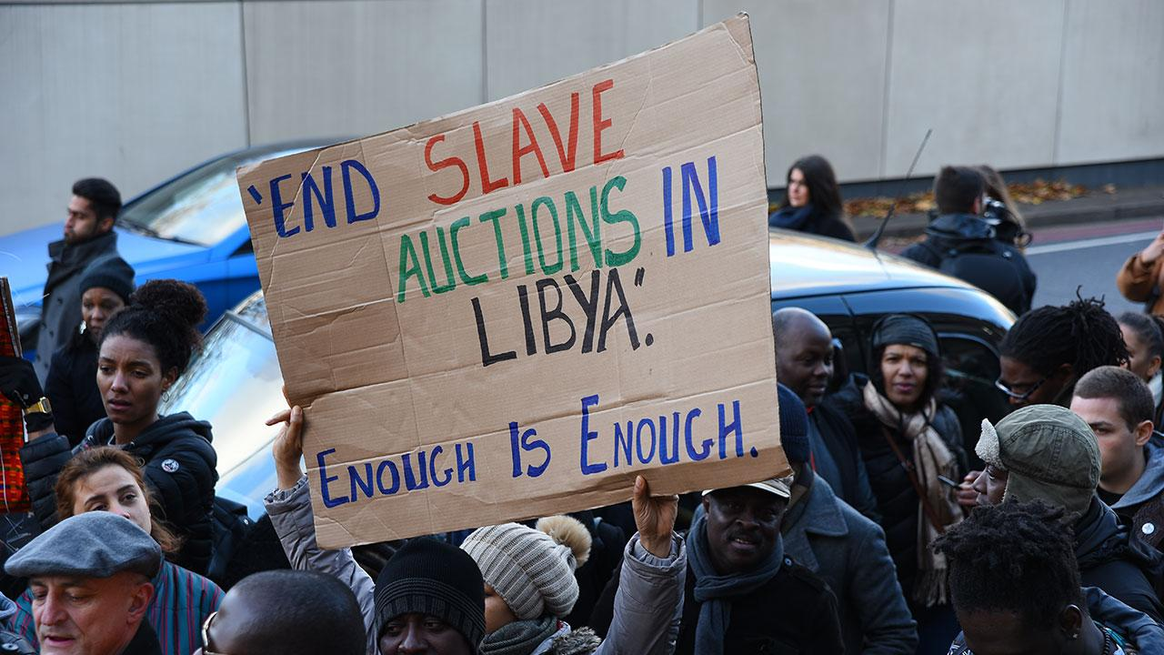 Many have taken to protesting the slave trade in Libya.