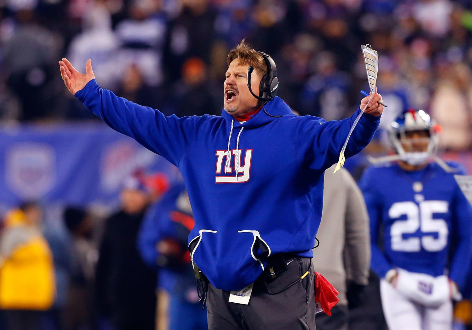 EAST RUTHERFORD, NJ - DECEMBER 11:  (NEW YORK DAILIES OUT)   Head coach Ben McAdoo of the New York Giants reacts during a game against the Dallas Cowboys on December 11, 2016 at MetLife Stadium in East Rutherford, New Jersey. The Giants defeated the Cowboys 10-7.  (Photo by Jim McIsaac/Getty Images)