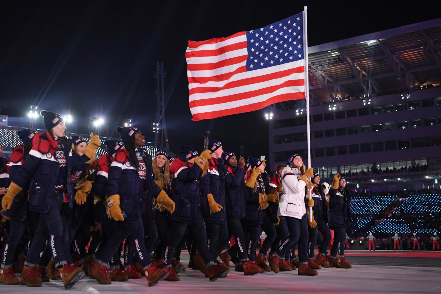 The U.S. Olympic team walks in the Parade of Athletes before the 2018 Pyeongchang Winter Olympics.