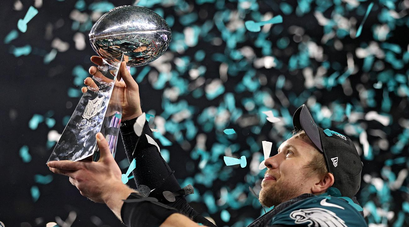 Nick Foles holds up the Lombardi Trophy after winning the first Super Bowl in Eagles history.