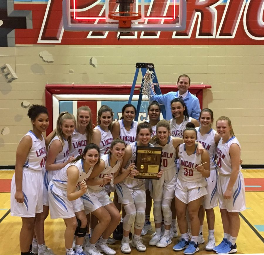 The+LHS+girls+basketball+team+beat+Watertown++54-38+on+March+2.+The+team+has+advanced+to+the+State+tournament.