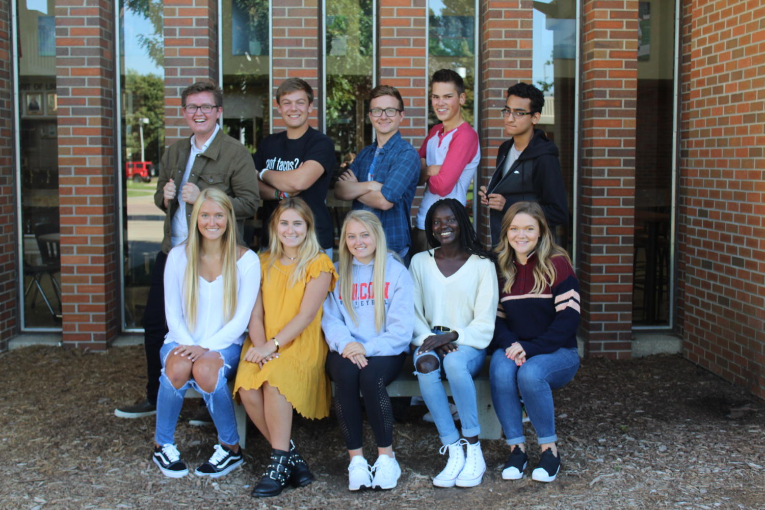 Royalty candidates for LHS include: Back left: Gage Gramlick, Caiden Capaldo, Ian Ward, Peter Christopherson and Akshay Choudhry Front left: Kate Fehrs, Chloe Crissman, Somer Luitjens, Josephine Dal and Lily Haitt