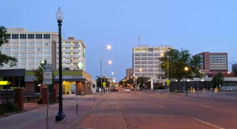 Downtown Sioux Falls, South Dakota looking South on Main Ave. on June 6, 2018.