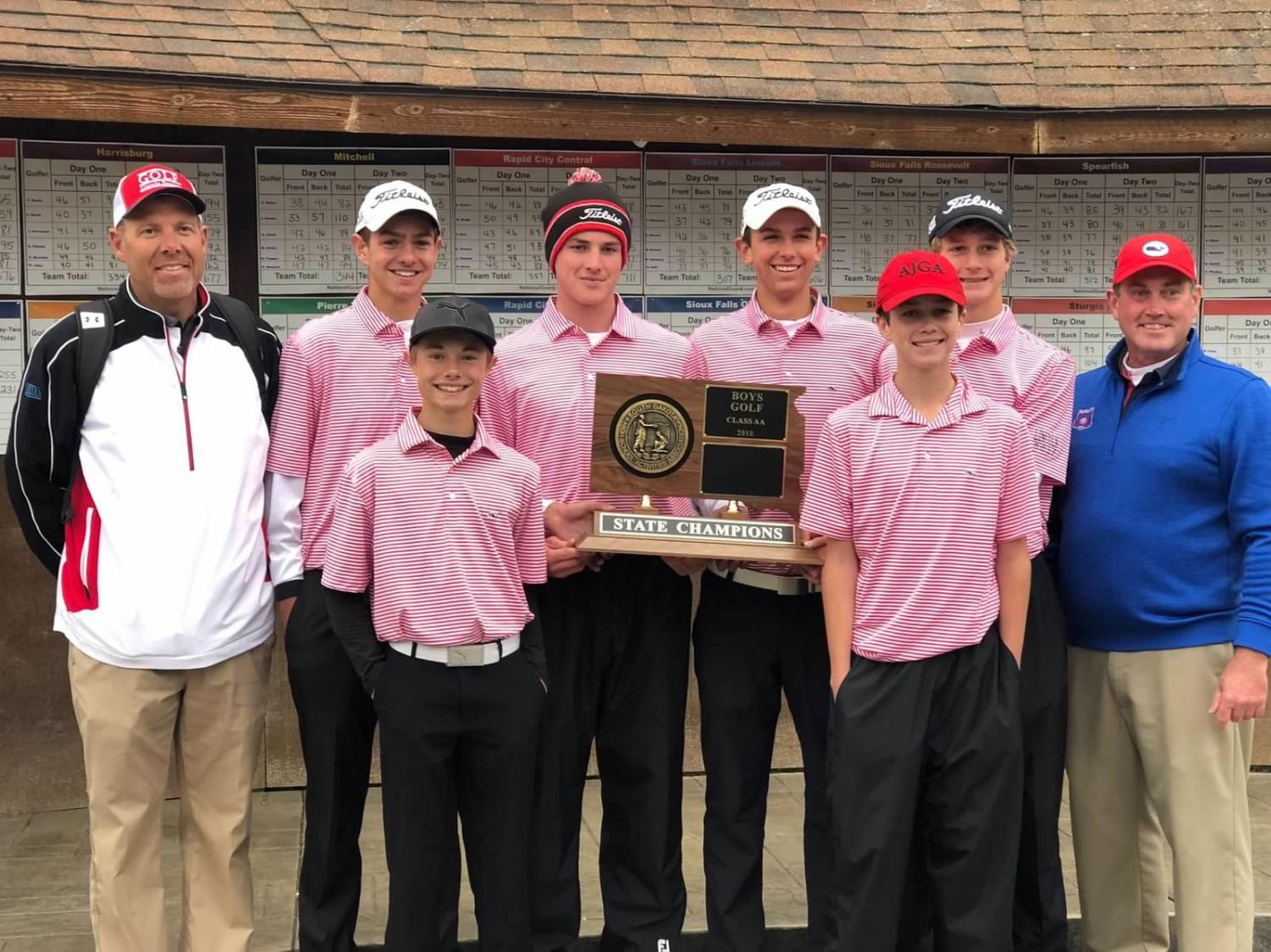 The LHS boys golf team won the State Championship under the leadership of Jeff Halseth and Scott Amundson.  Left: Coach Amundson, Ryan Neff, Max Honner, Adam Schrader, Nash Stenberg, Coach Halseth. Front left: Jack Hillgenberg, Luke Honner
