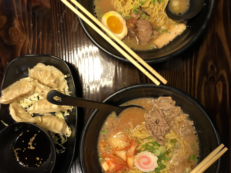 Gyoza, Kimchi Ramen and Char Siu Ramen from Ramen Fuji.