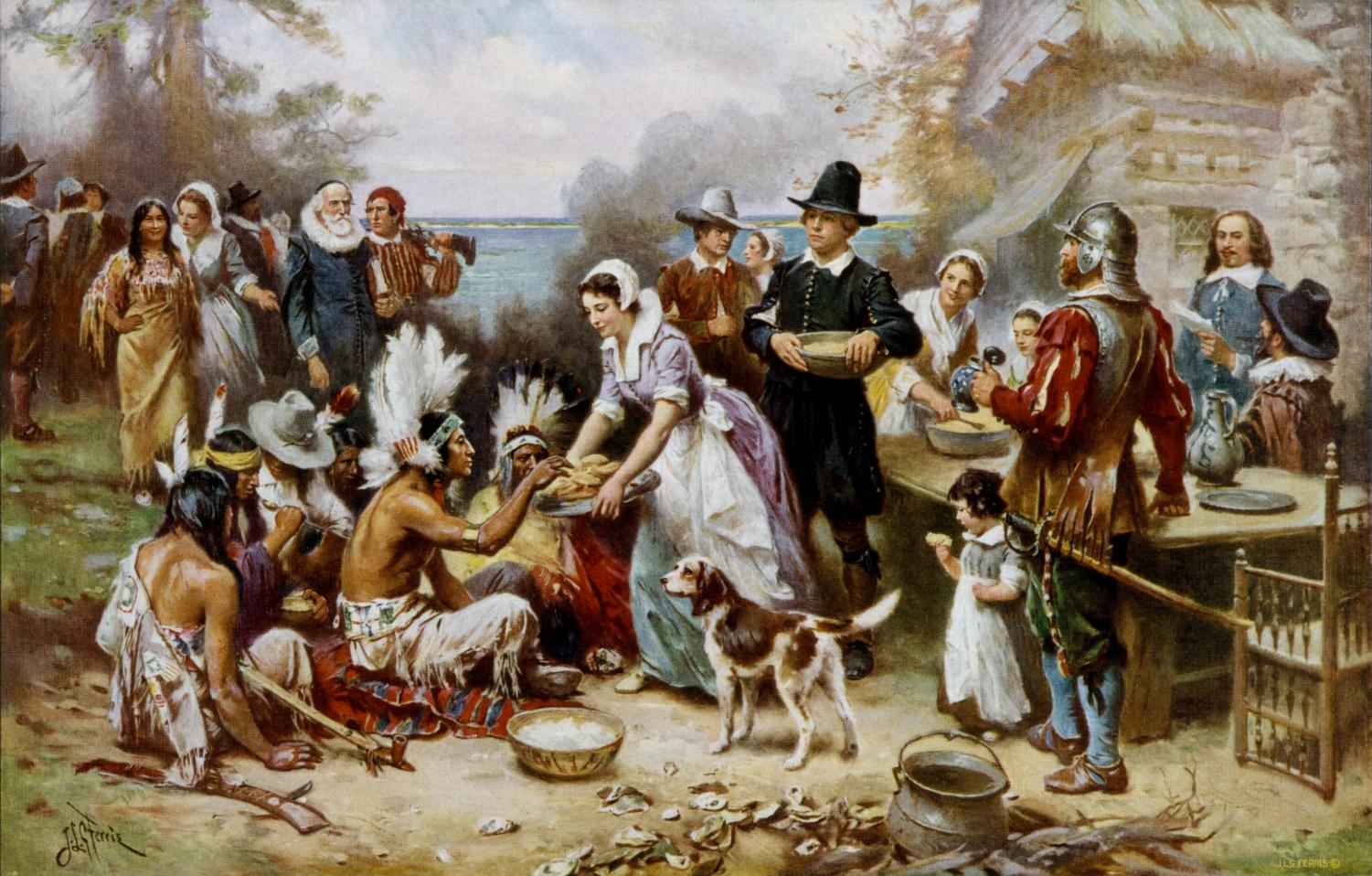 Depiction of the first Thanksgiving including Pilgrims and Native Americans sharing a feast.