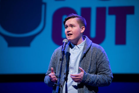 Senior Gage Gramlick presents at the national Poetry Out Loud competition in 2018