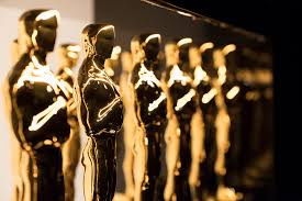 Oscar trophies lined up for the award show.