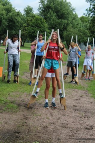 Lila Batcheller competing on stilts with her partner during last summer's