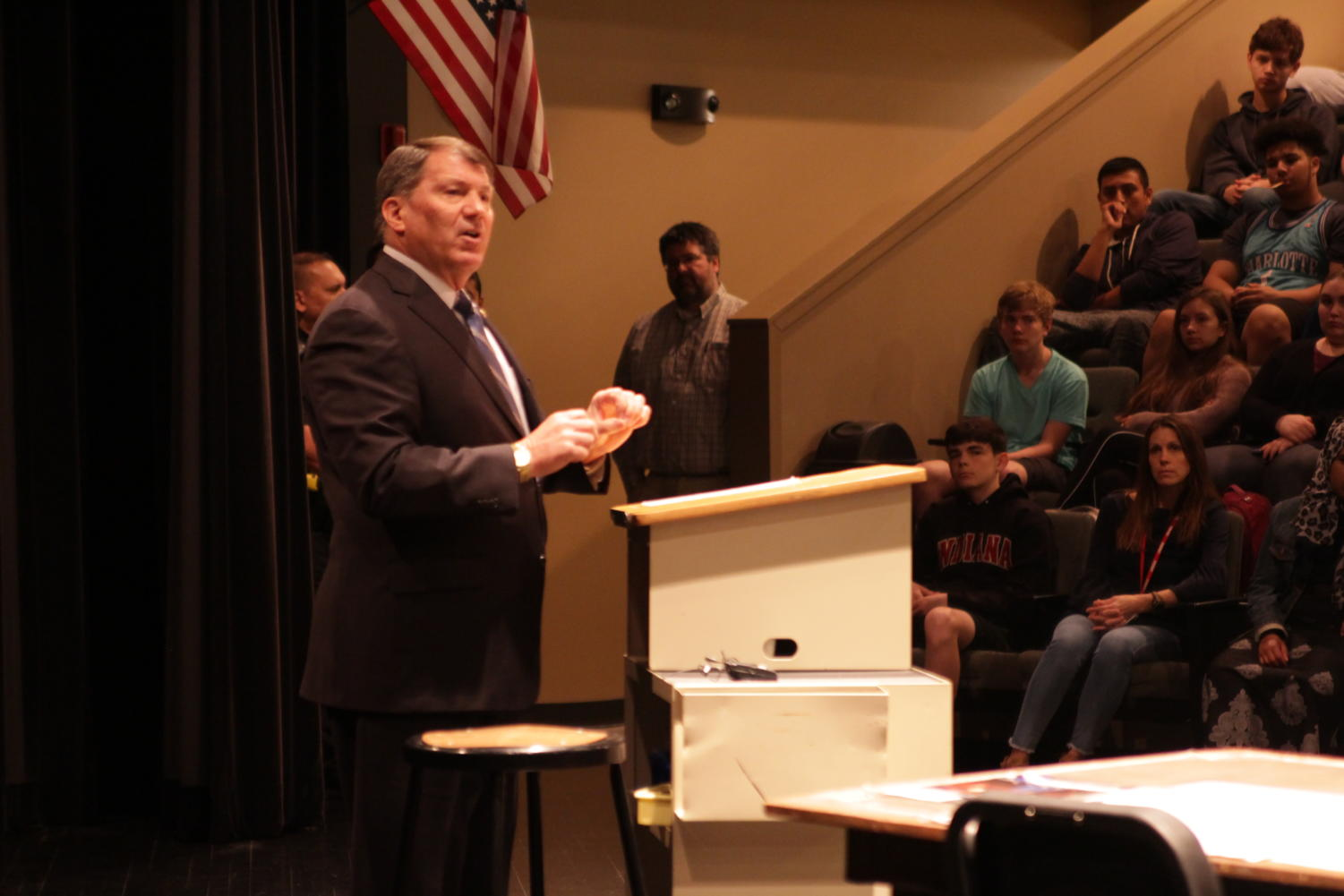 Senator Mike Rounds holds a question and answer session in the LHS little theater.