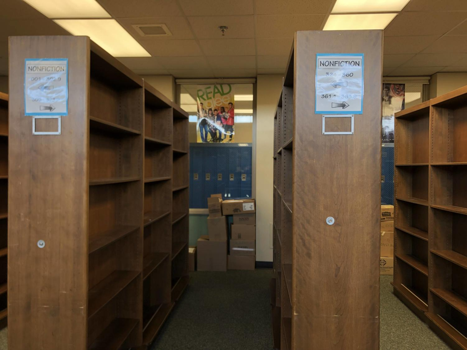 Because the library is getting new carpet, books have been removed from the shelves. Luckily, this will make adding a growing Spanish section a lot easier.