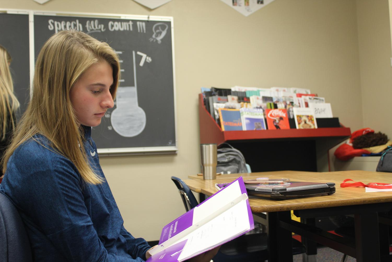 For juniors, the year is much harder considering the amount of homework given coupled with a lack of motivation. (Pictured: Madeleine Kemper)