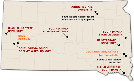 There are 11 state university campuses across the state of South Dakota. Enrollment in each of these universities is down from last year.