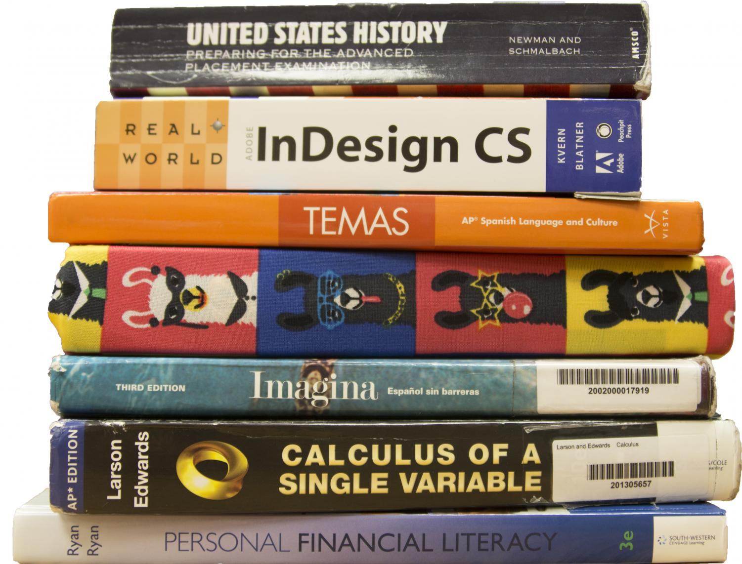 A number of different textbooks that students study from to prepare for finals.