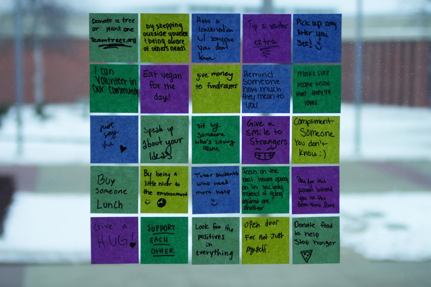 25 ideas from anonymous LHS students about how we can each make an impact on our world today.