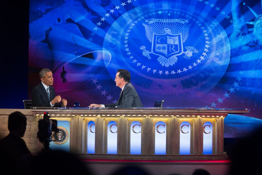Stephen Colbert interviews former President Obama towards the end of his run on