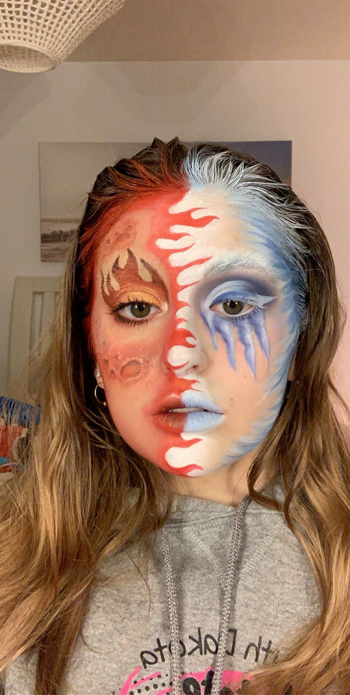 Raveling's completed makeup look, which has amassed her over 232 thousand followers on TikTok.