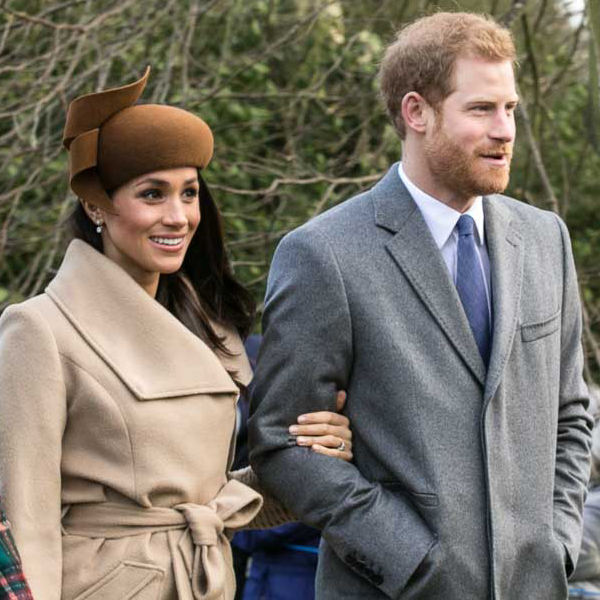 Prince Harry and his wife, Meghan Markle, attending Sandringham Church.