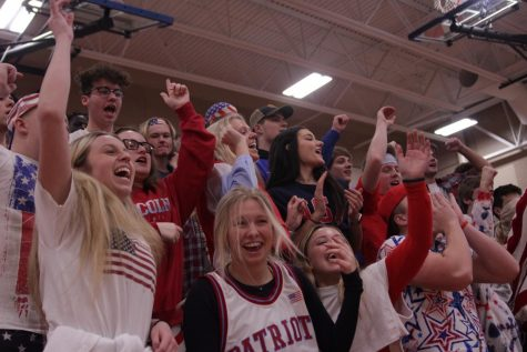 LHS student section getting hyped after a big play.
