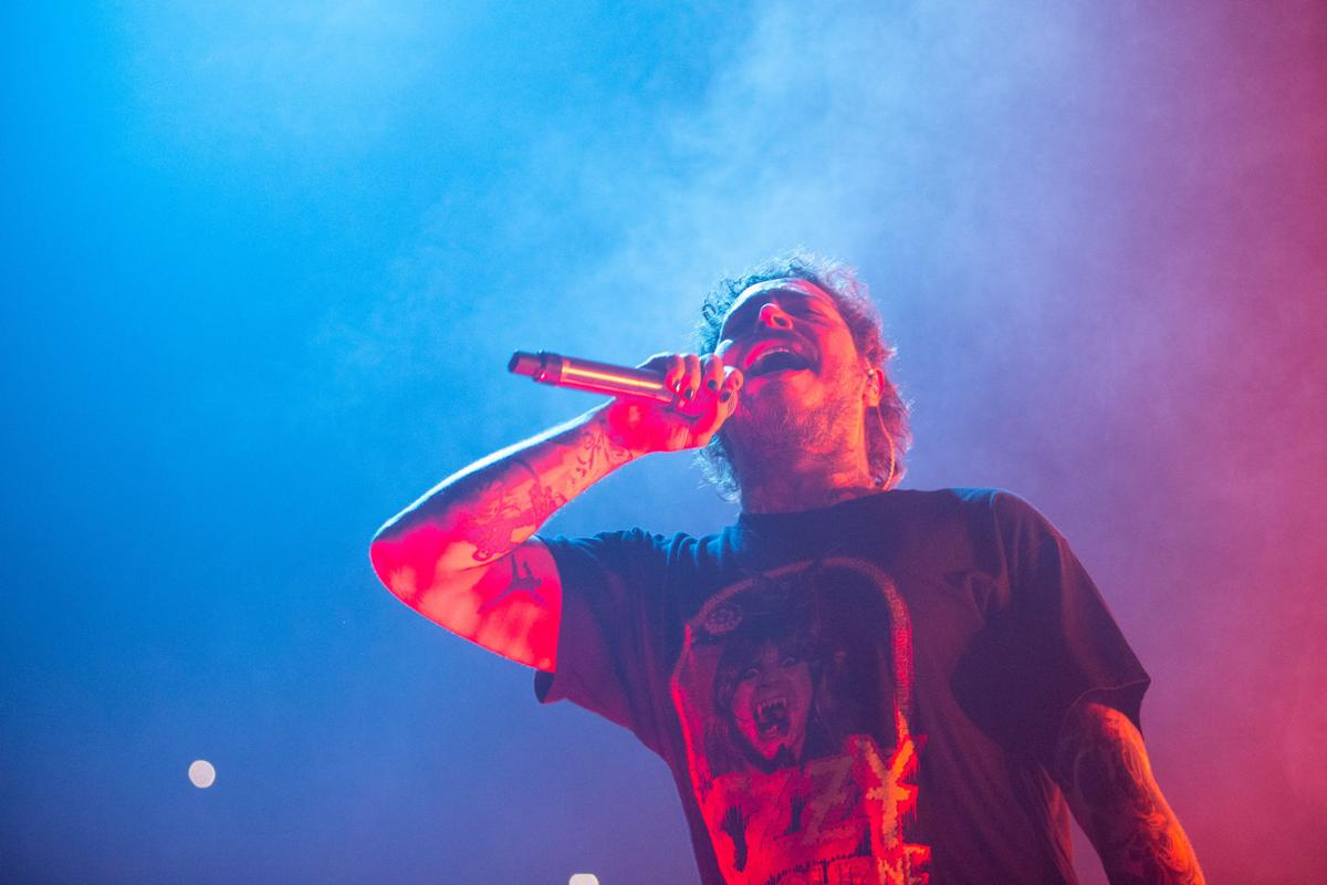 Post Malone performs on stage during his Runway Tour at the CHI Health Center Omaha on Tuesday, Feb. 4, 2020.