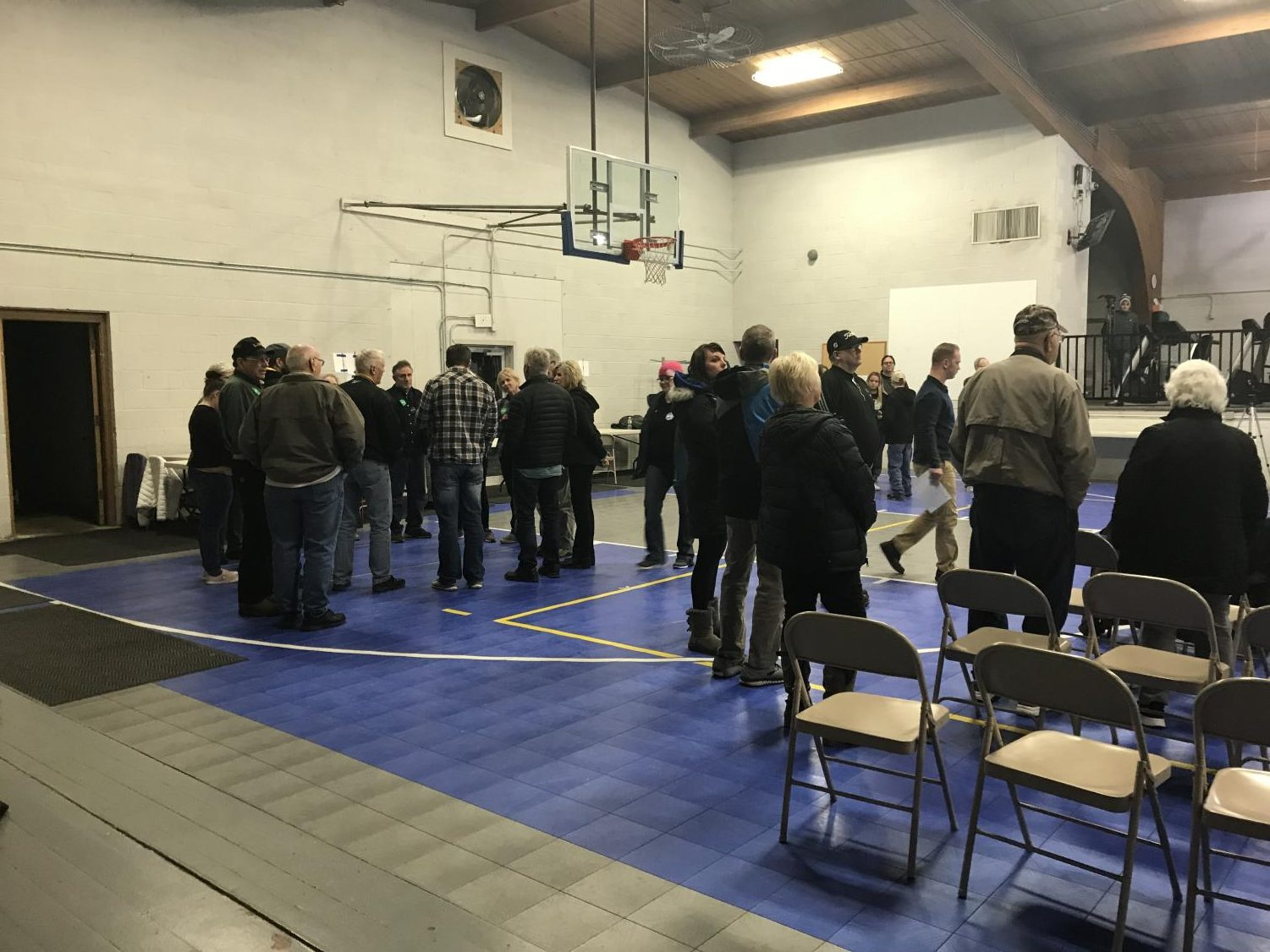 Caucus-goers display their support for a particular candidate at the Democratic Party 2020 Caucus in Larchwood, Iowa.