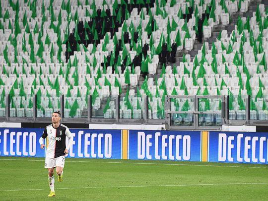 Juventus game being played in a empty staduim due to CoronaVirus.