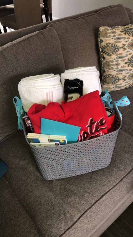Basket of gifts that Florey received from her