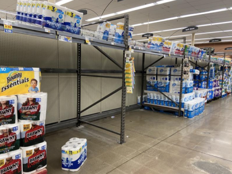 Shelves are becoming empty as both essential and non-essential items are selling out.