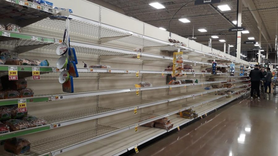 Shelves are becoming empty as both essential and non-essential items are selling out