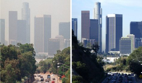 Before and after photo of the Los Angeles skyline. Stay at home measures are not only protecting people's health but the health of the environment.