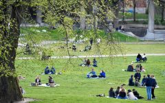 People gathered together on a beautiful spring day at the Ralambshov park during the COVID-19 pandemic in Stockholm, Sweden on May 8, 2020.