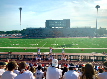 LHS Pats cheering on the Varsity Football team at the 29th Annual Presidents Bowl, that took place on Sep. 5th. The Pats lost to their opponent, the Rough Riders.