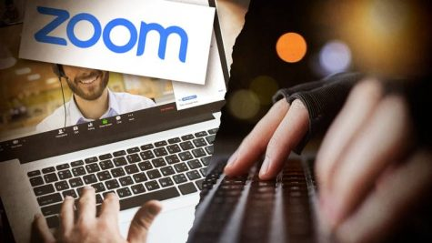 Cinematic picture of the zoom logo on a laptop and someone typing.