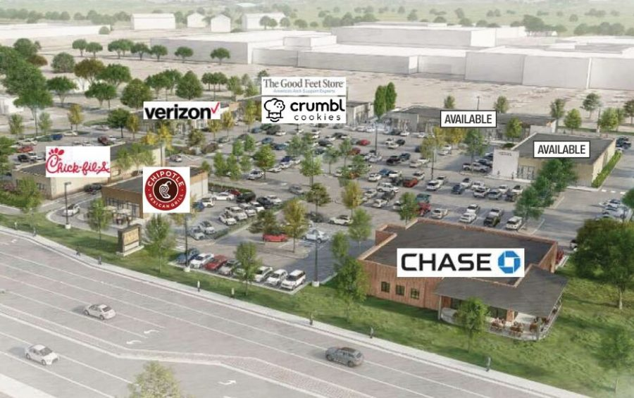 The Empire Place layout that will house upcoming businesses, Chipotle and Chick-Fil-A.