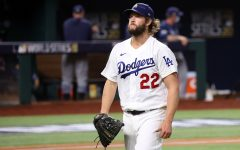 Clayton Kershaw walks off the mound after his outstanding performance.