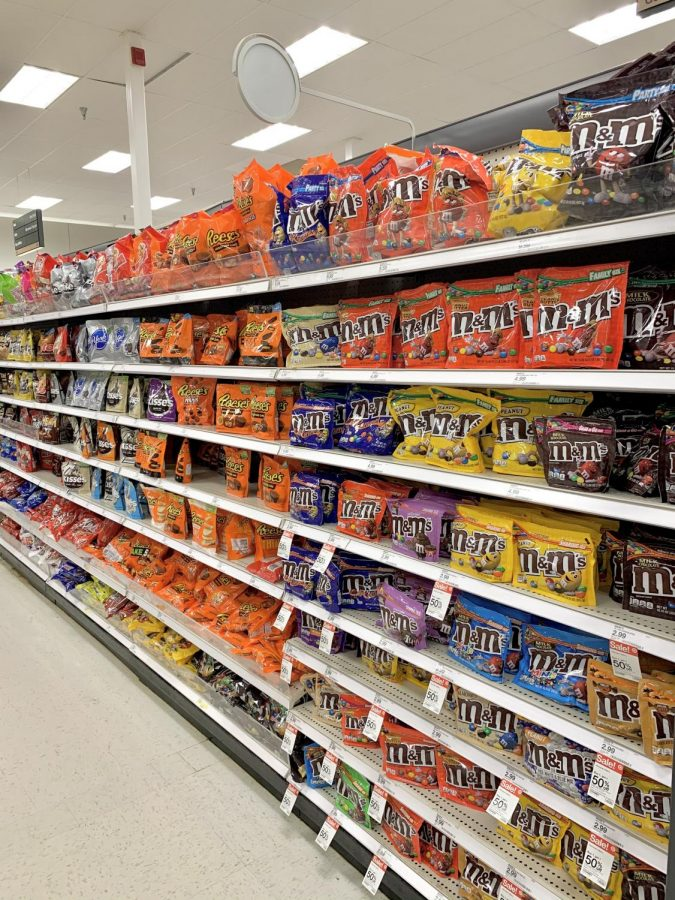 The Halloween candy selection at Target is filled with M&M's and Reese's Peanut Butter  Cups.