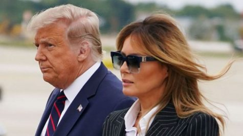President Trump and first lady Melania Trump arrive in Cleveland ahead of the first presidential debate, Sept. 29.