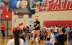 LHS student/Homecoming King, Nick Jensen, hyped up the crowd at the 2020 Homecoming pep rally.