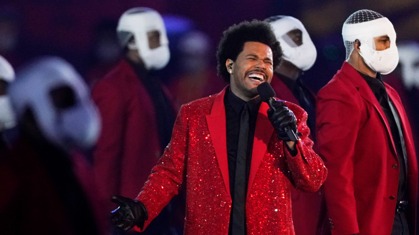 The Weeknd performs during the halftime show of the NFL Super Bowl 55 football game between the Kansas City Chiefs and Tampa Bay Buccaneers, Sunday, Feb. 7, 2021, in Tampa, Fla.