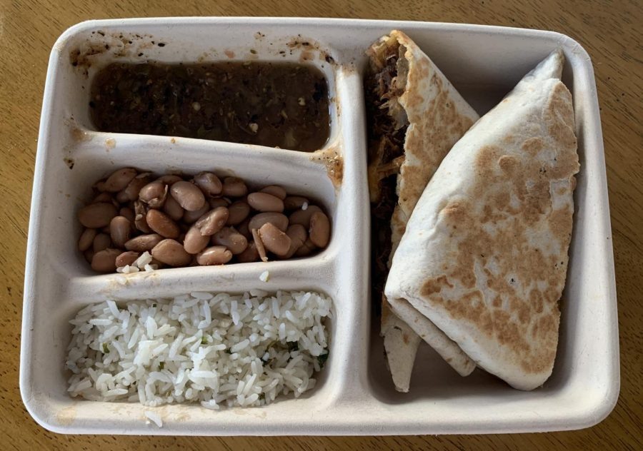 Chipotle%27s+new+quesadilla+is+filled+with+meat+and+served+with+your+choice+of+three+sides.+