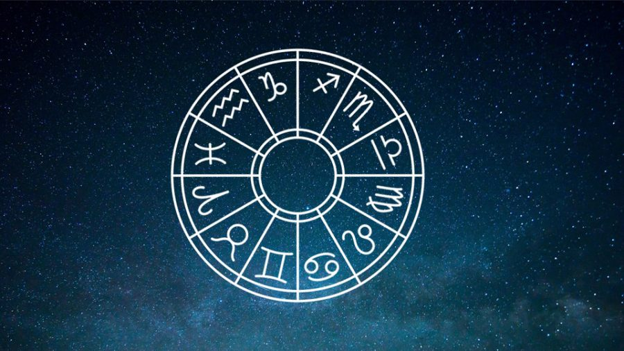 A wheel showing all of the different astrological signs based on the month born in and star alignment.