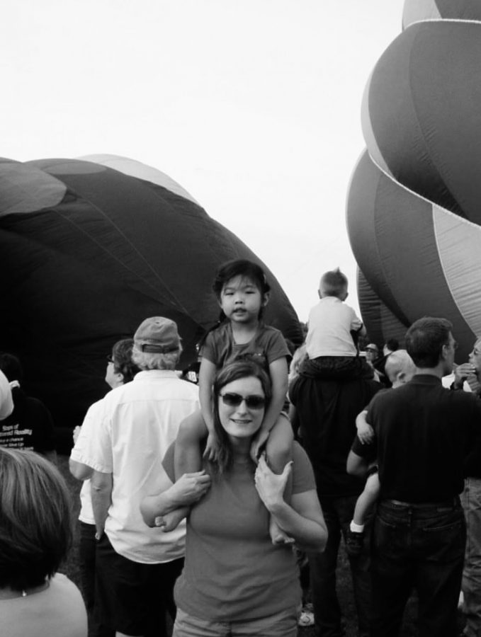Sandvall and her mom at a hot air balloon show in June 2009.