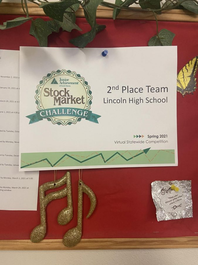The second place certificate from the National Stock Market competition hanging proudly in Janet Kolb´s room.