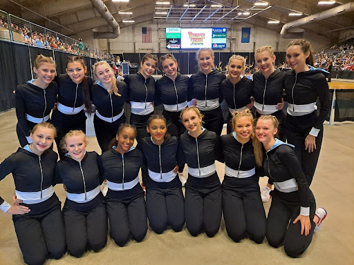 LHS dance team smiling after a happy win at competition in Brookings.